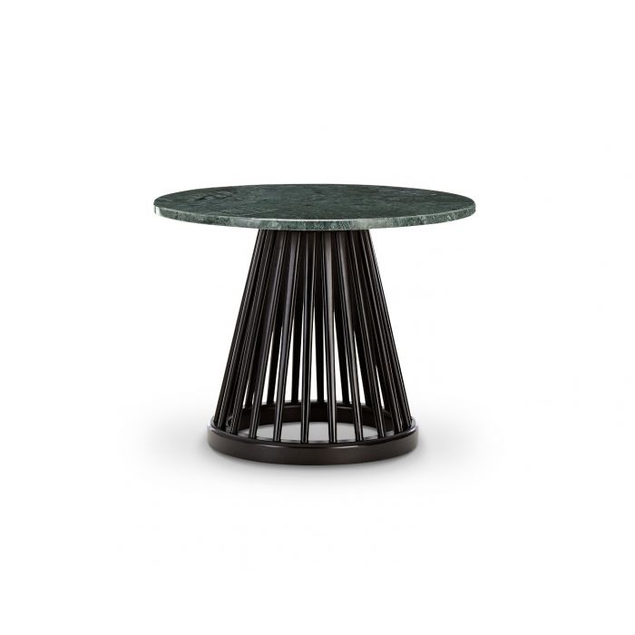Fan Table Black Base Green Marble Top