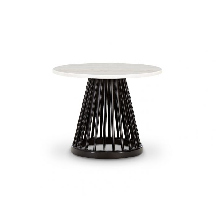 Fan Table Black Base White Marble Top 600mm