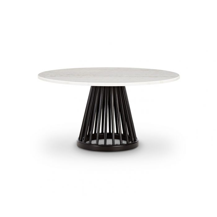 Fan Table Black Base White Marble Top 900mm