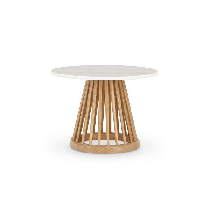Table basse Fan brut avec plateau marbre blanc