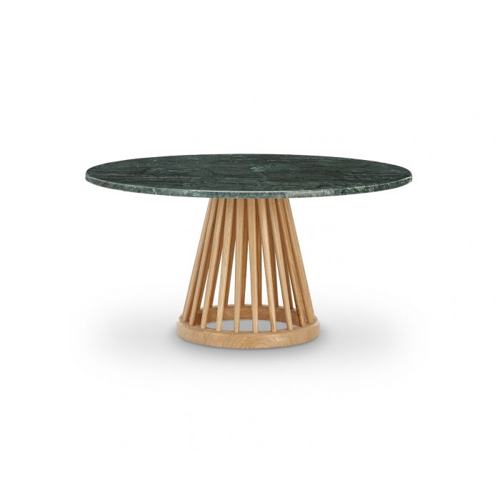 Fan Table Natural Base Green Marble Top 900mm