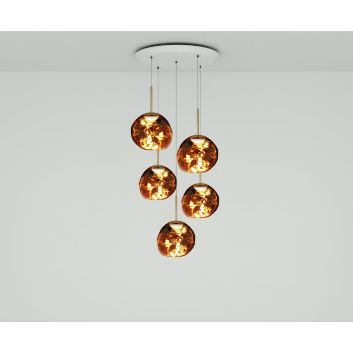 Melt Mini LED Gold Round Pendant System