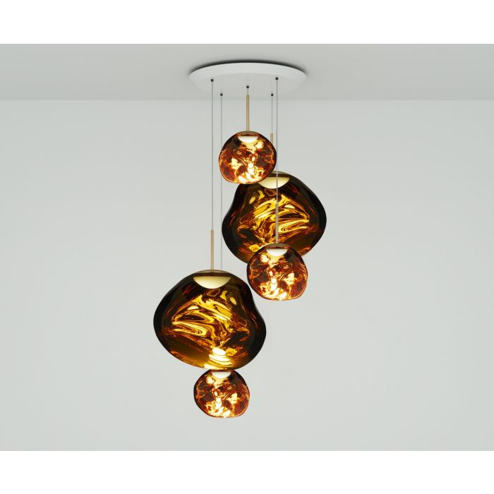 Melt LED Gold Large Round Pendant System