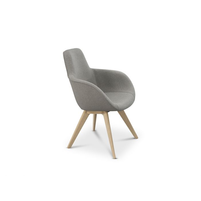 Scoop Chair High Back Natural Leg Micro Boucle 0404