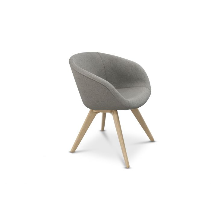 Scoop Chair Low Back Natural Leg Micro Boucle 0404