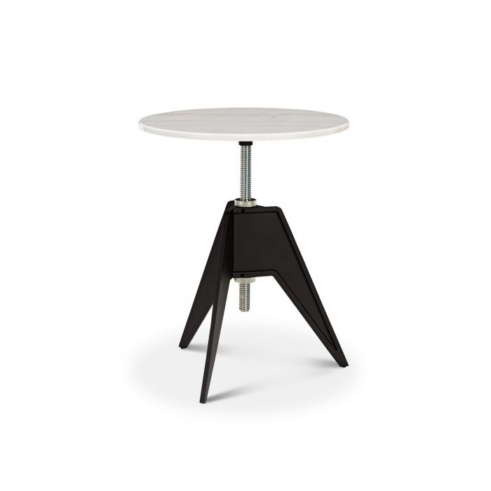 Screw Cafe Table White Marble Top 600mm