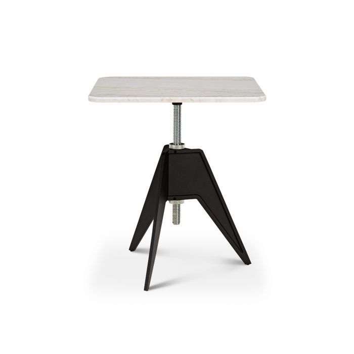 Screw Cafe Table White Marble 650mm
