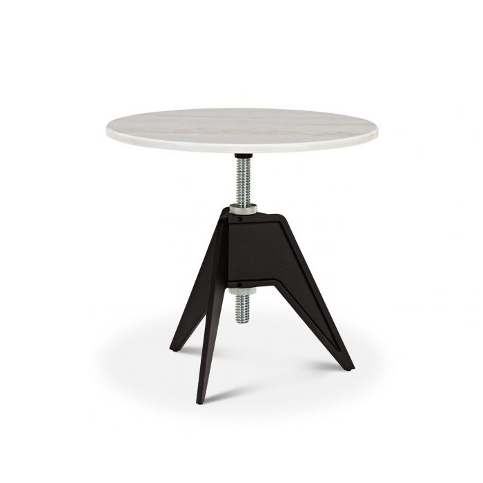 Screw Side Table White Marble Top 600mm