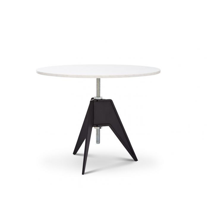 Screw Cafe Table White Marble Top 900mm