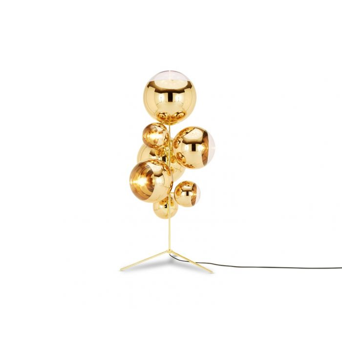 Mirror Ball Stand Chandelier Gold