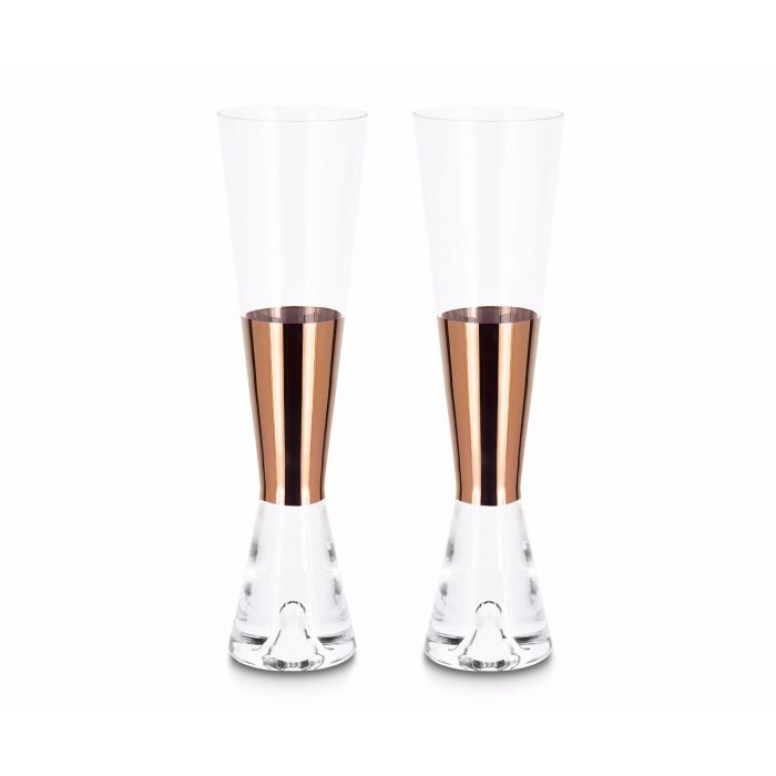 Tank Champagne Glasses Copper x2