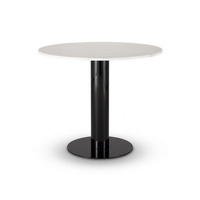 Tube Dining Table White Marble Top 900mm