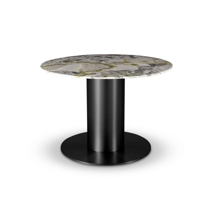 Tube Wide Dining Table Black Primavera Marble Top 1100mm
