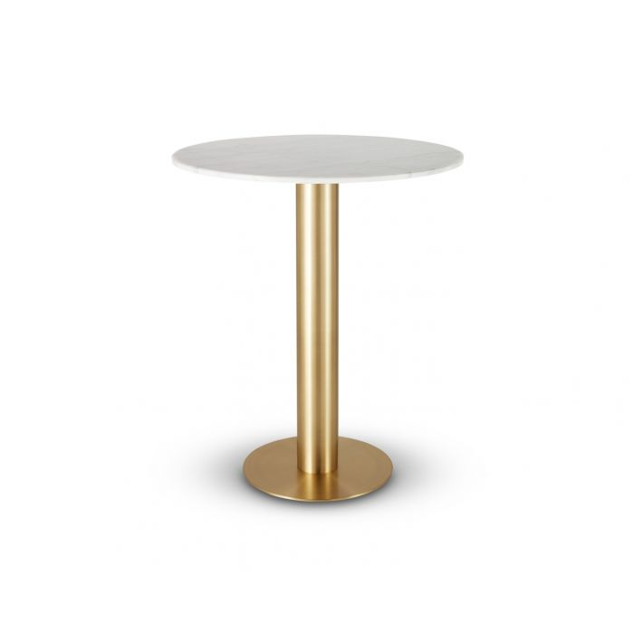 Tube High Table Brass White Marble Top 900mm