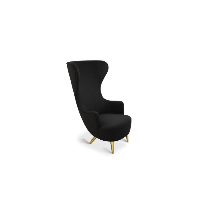 Wingback Chair Brass Leg Denim 0202