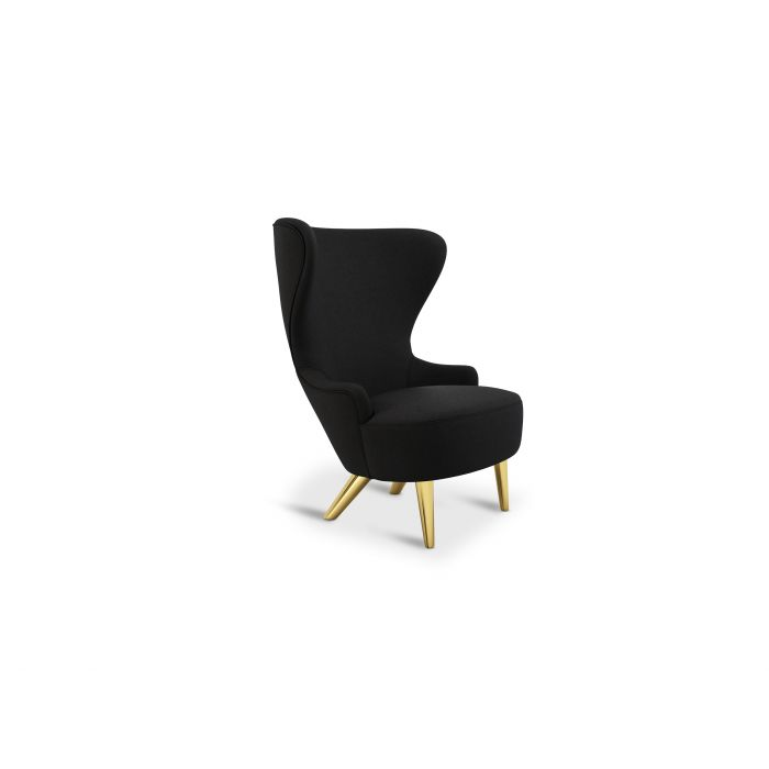 Wingback Micro Chair Brass Leg Denim 0202