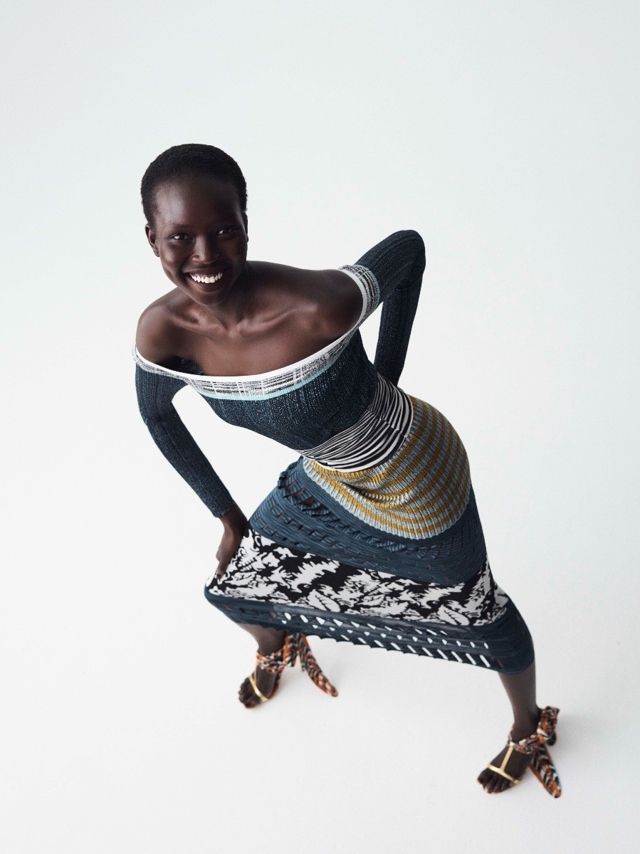Example of Missoni fashion - A lady wearing a patterned dress