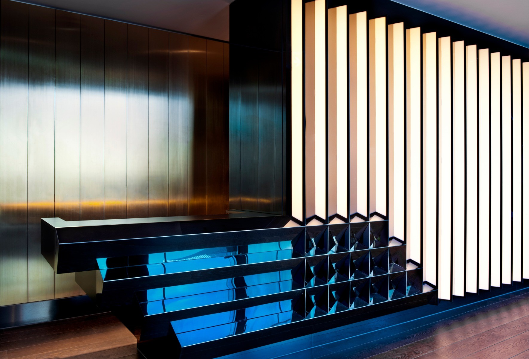 Detail of the bar at the Mondrian Sea Containers in London, interiors by Tom Dixon's Design Research Studio.