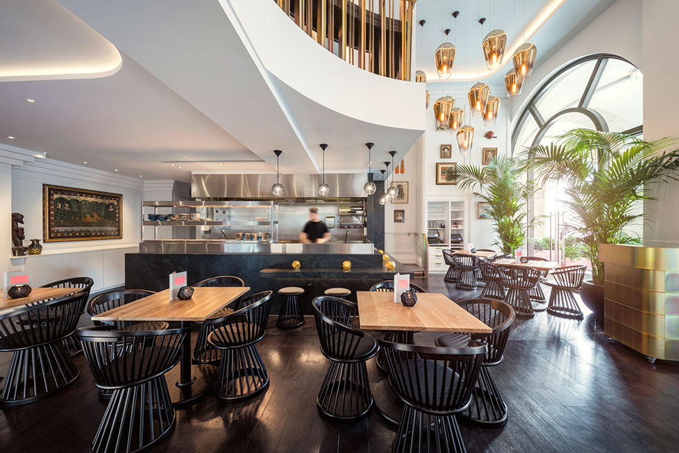 Bronte Restaurant, The Strand London featuring Tom Dixon lighting and furniture