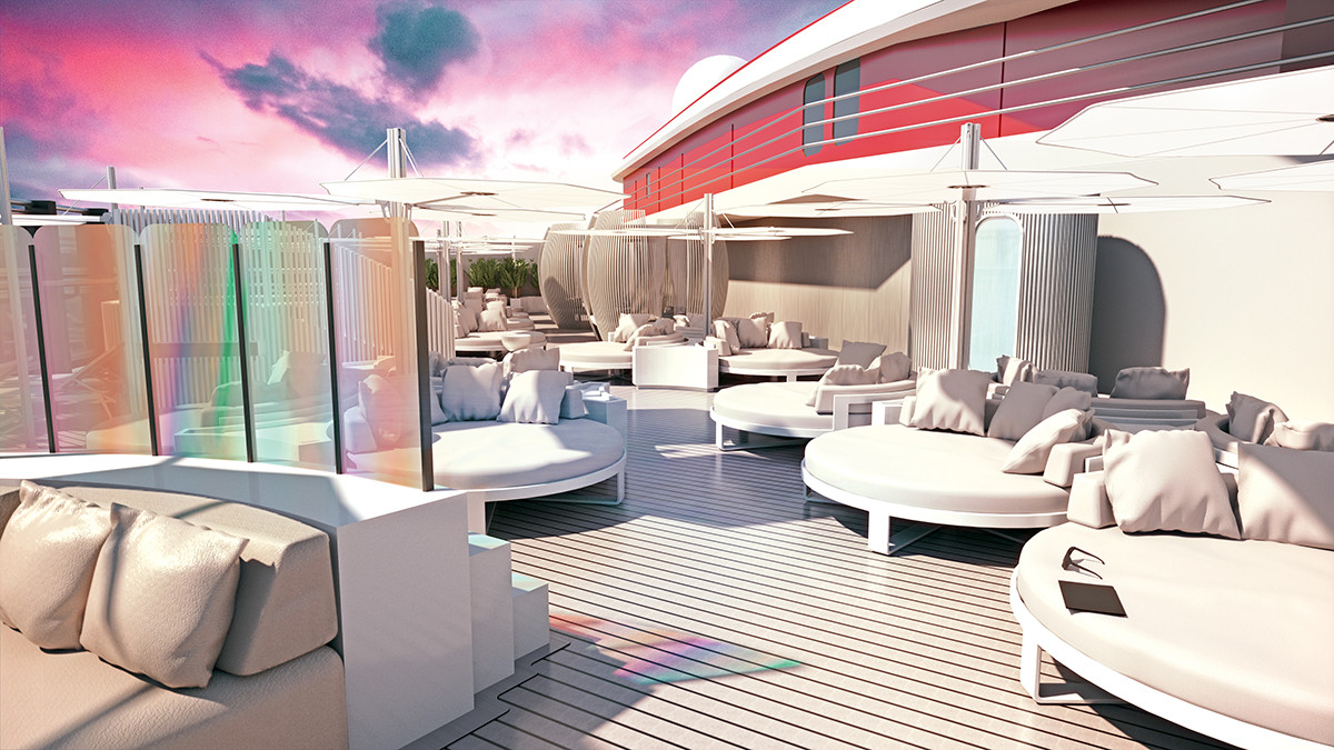 Virgin Voyages VIP top deck by Tom Dixon