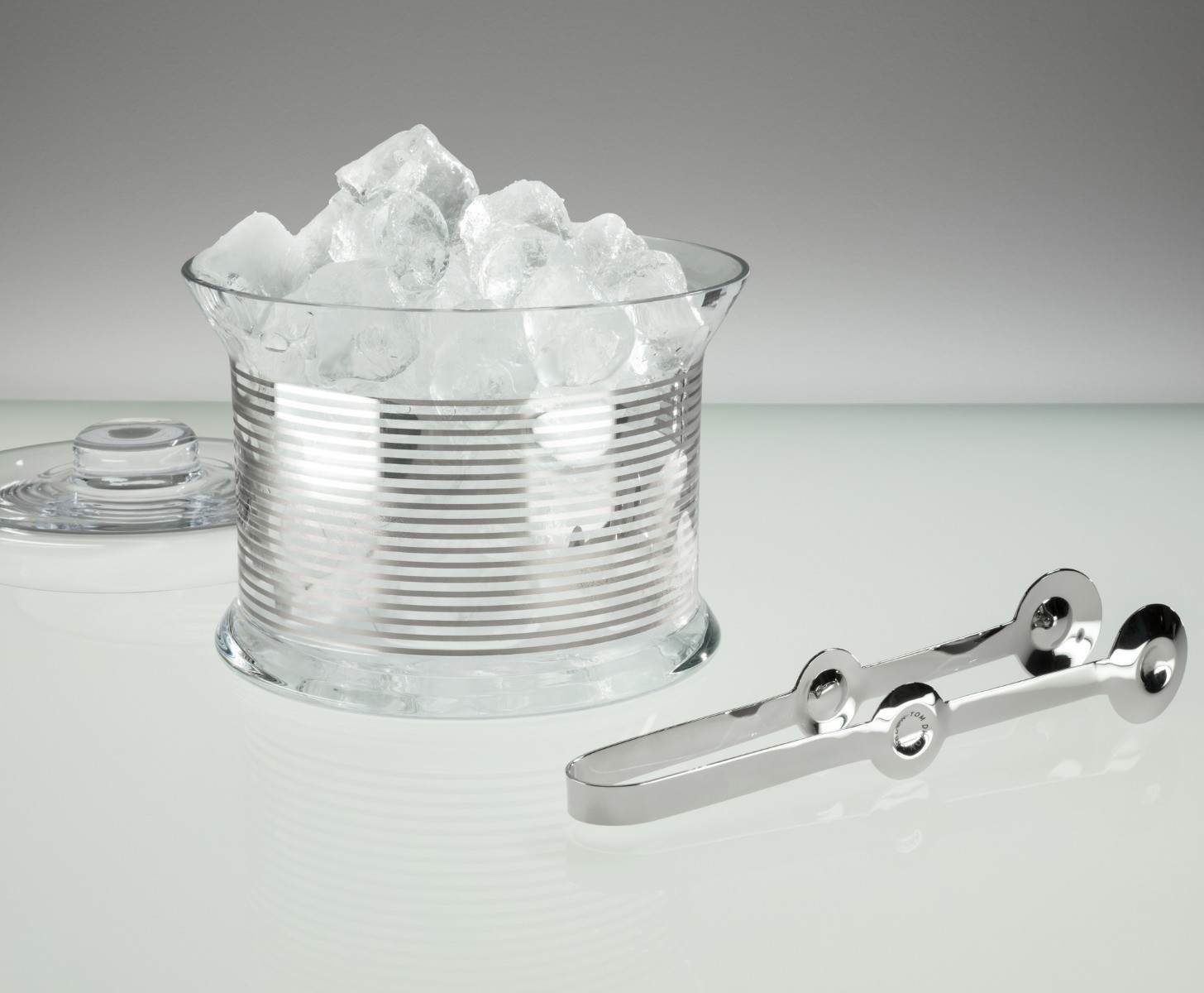 Tank Ice Bucket Platinum Stripe & Tongs