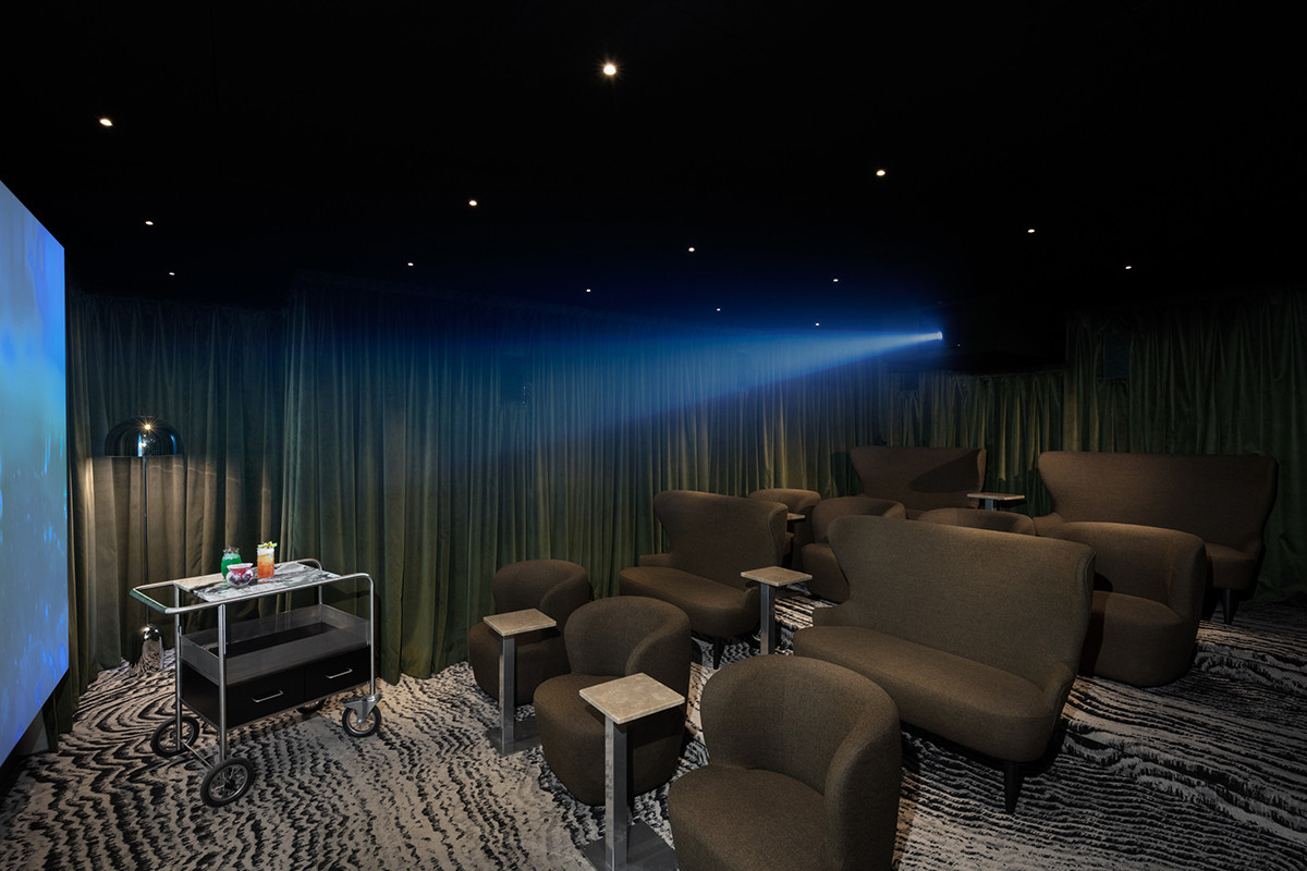 Tom Dixon cinema design - a lush velvet drapery and soft upholstery backdrop