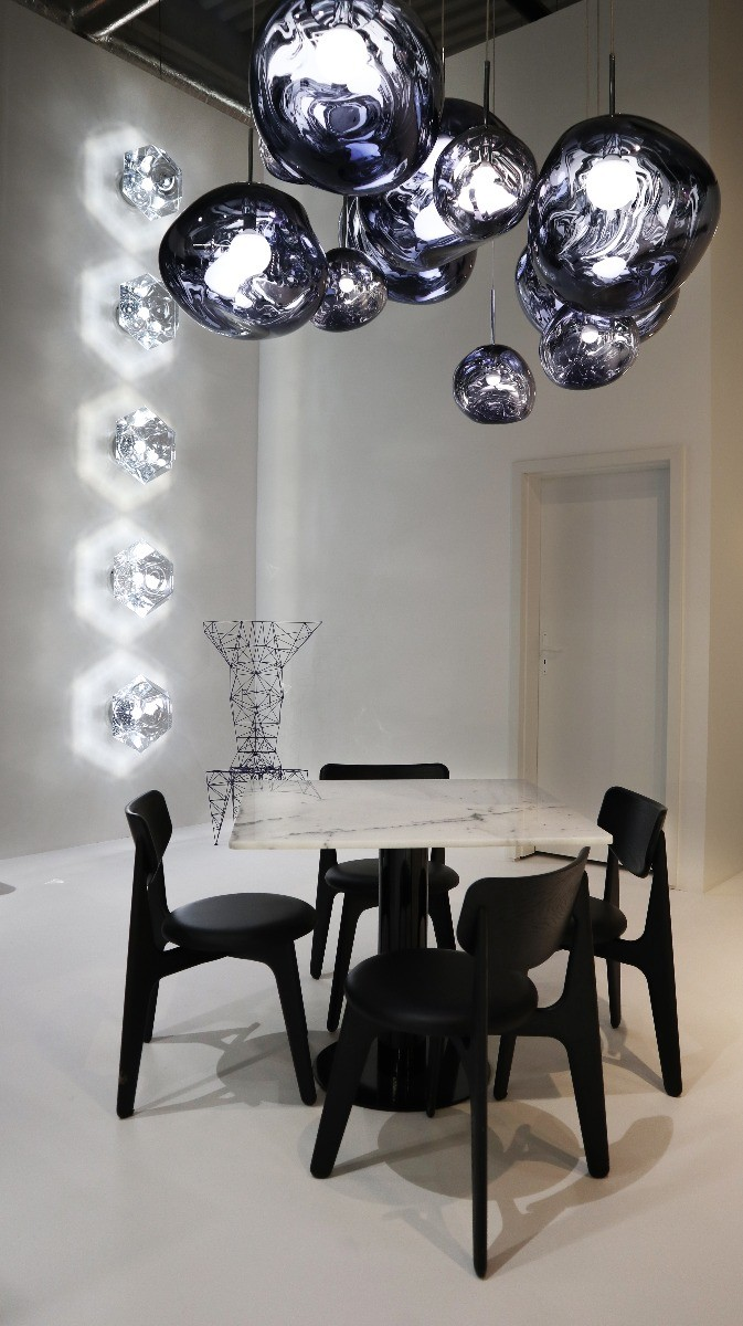 Tom Dixon's Melt pendants with Slab chairs and Cut surface lights