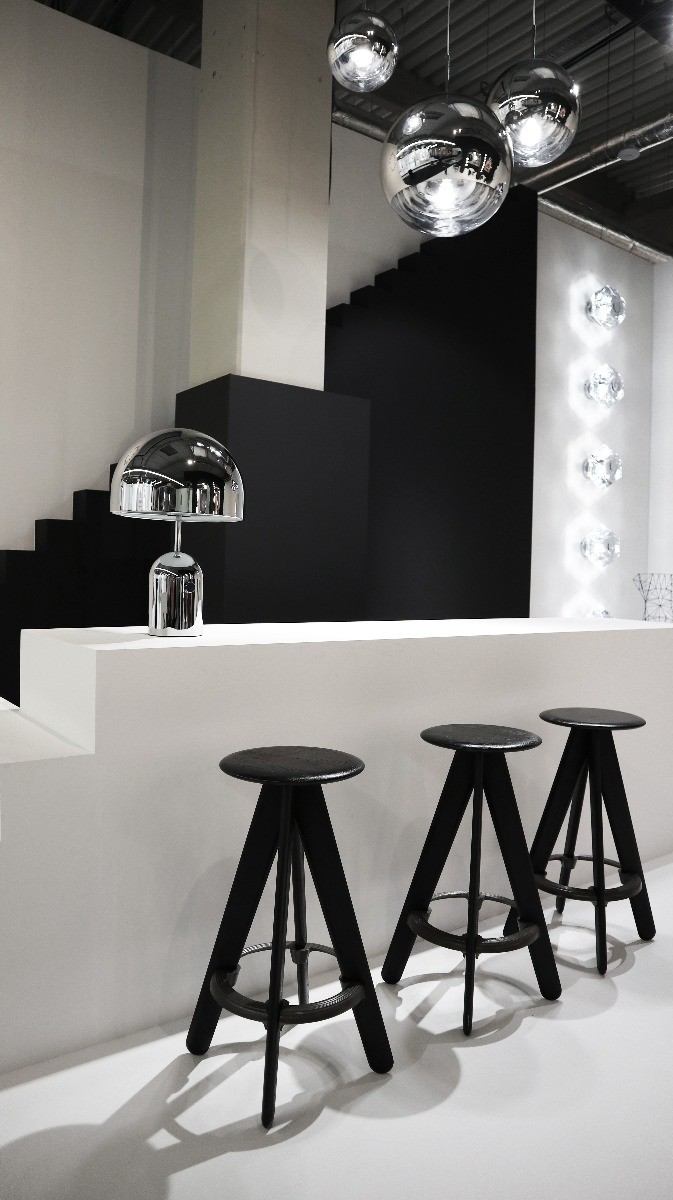 Tom Dixon's Slab Stools, Bell Table light and Melt pendants