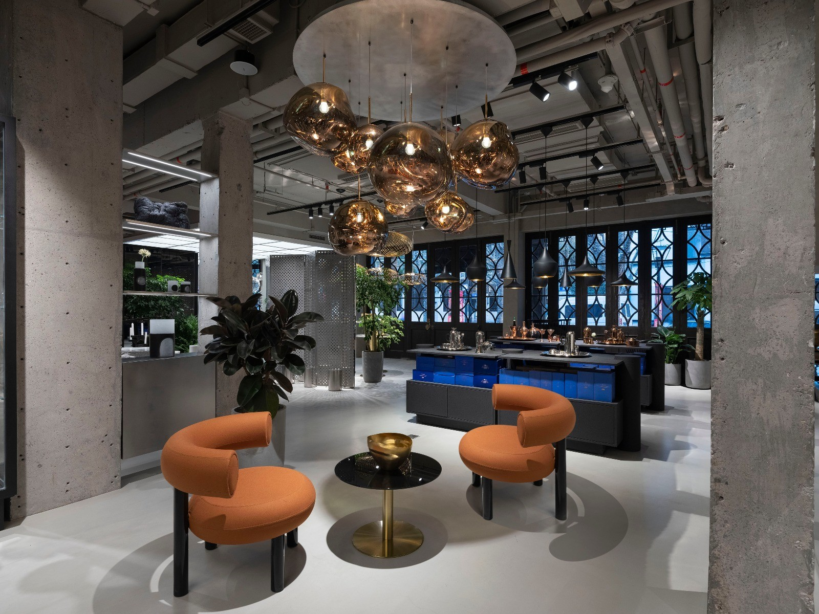Tom Dixon Fat Chairs and Melt Pendants